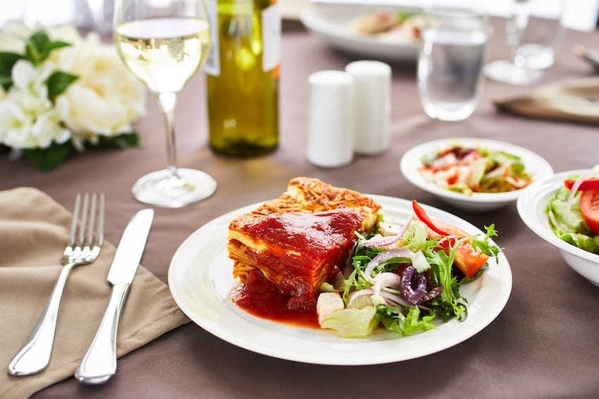 CraigCare Food Options - beef lasagne greek salad