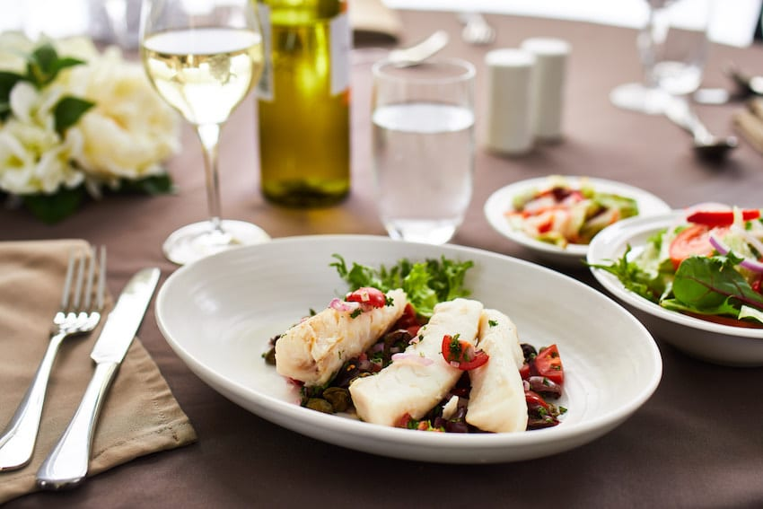 CraigCare Food Options - Steamed fish tomato olive caper salsa